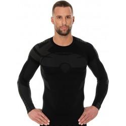 Koszulka termoaktywna z długim rękawem męska BRUBECK DRY CZARNY-GRAFIT