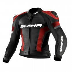 Sportowa kurtka skórzana SHIMA STR BLACK/RED