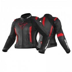 SHIMA MIURA BLACK/RED skórzana damska kurtka motocyklowa