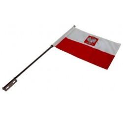 Maszt motocyklowy flaga polski z godłem na motocykl