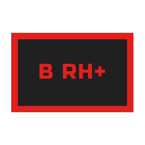 Odznaka na rzep, naszywka z grupa krwi B RH +