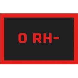 Odznaka na rzep, naszywka z grupa krwi 0 RH-