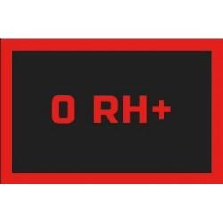 Odznaka na rzep, naszywka z grupa krwi 0 RH+