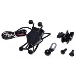 Motocyklowy uchwyt na telefon lub nawigacje typu RAM z gniazdem USB