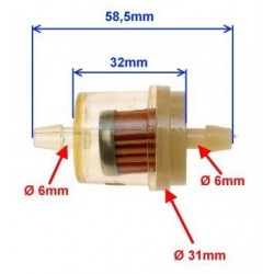 Filtr paliwa na przewód 6mm mały rozmiar mini