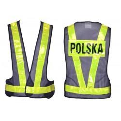 Odblaskowa siatkowa kamizelka motocyklowa z napisem POLSKA