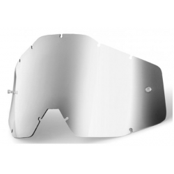 SZYBKA DO GOGLI 100% RACECRAFT/ACCURI/STRATA SILVER MIRROR KOLOR SREBRNE LUSTRO Z ANTI FOG