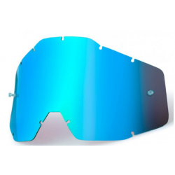 SZYBKA DO GOGLI 100% RACECRAFT/ACCURI/STRATA BLUE MIRROR KOLOR NIEBIESKIE LUSTRO Z ANTI FOG