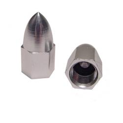 Nakrętki na wentyle w kształcie stożka srebrne
