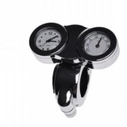 Zegarek z termometrem na kierownicę 22/25 CHROM