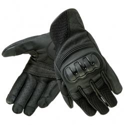 Rękawice motocyklowe męskie krótkie skórzane OZONE TOWN II BLACK
