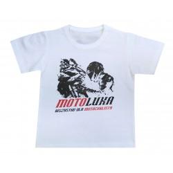 T-shirt dziecięcy, koszulka motocyklowa na prezent biały MOTOLUKA