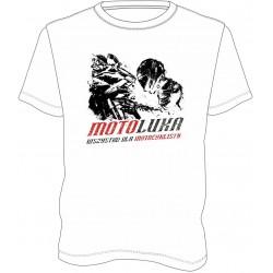 T-shirt męski, koszulka motocyklowa męska na prezent biała MOTOLUKA
