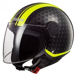 LS2 KASK OTWARTY OF558 SPHERE LUX CRUSH BLACK H-V YELLOW