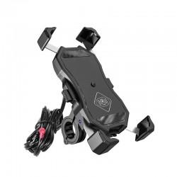 Uchwyt motocyklowy z ładowarką do telefonu - R13W Wireless - USB QC - 2in1
