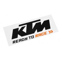 Naklejka z logo KTM 84X34mm, czarno-pomarańczowa na białym tle