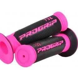 Manetki gumy raczki kierownicy dwuskładnikowe kobiece różowe PROGRIP PG732 CROSS RÓŻOWE FLUO