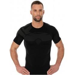 Koszulka termoaktywna z krótkim rękawem męska BRUBECK DRY CZARNY-GRAFIT